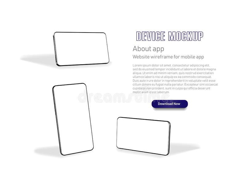 Smartphone frame less blank screen, rotated position. Smartphone from different angles. Mockup generic device. Vector vector illustration