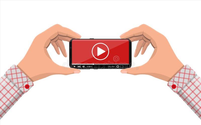 Smartphone Frameless avec le magnétoscope sur l'écran illustration libre de droits