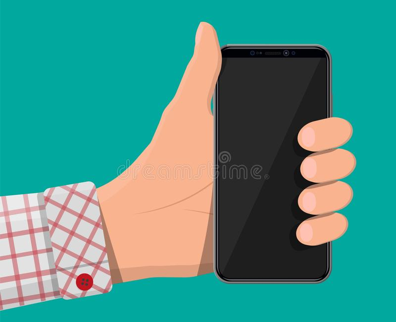 Smartphone with frameless edge display in hand. New generation smartphone with frameless edge display in hand. Empty black screen. Phone electronic device with royalty free illustration