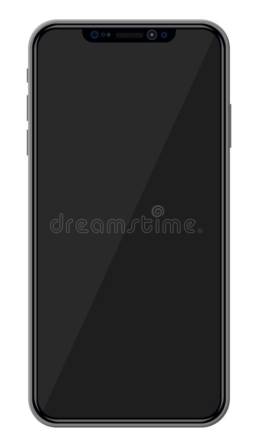 Smartphone with frameless edge display. New generation smartphone with frameless edge display. Empty black screen. Phone electronic device with touchscreen stock illustration