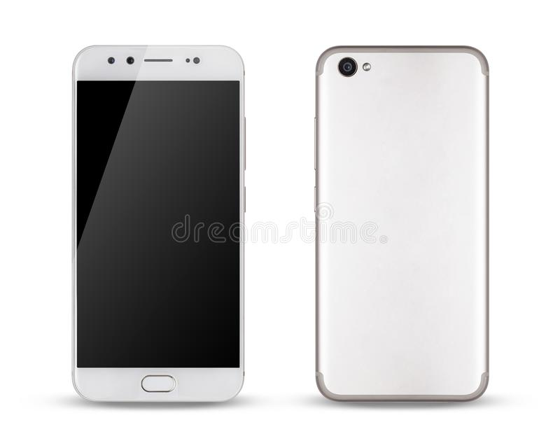 Smartphone, front and back sides of smartphone modern touch screen. Smartphone, front and back sides of smartphone modern touch screen isolated on white royalty free stock image