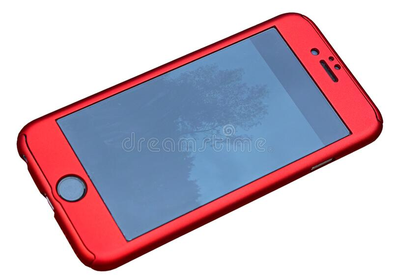 A Mobile Phone In A Bright Red Case Isolated With PNG File stock images
