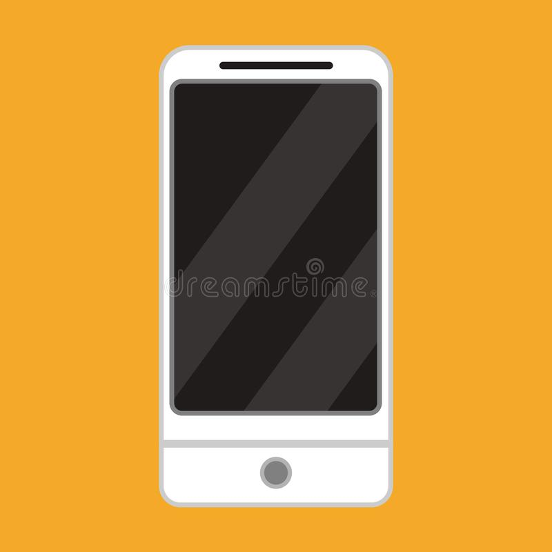 Smartphone front view vector icon device. Mobile phone technology digital blank screen. Gadget flat mockup with camera.  royalty free illustration