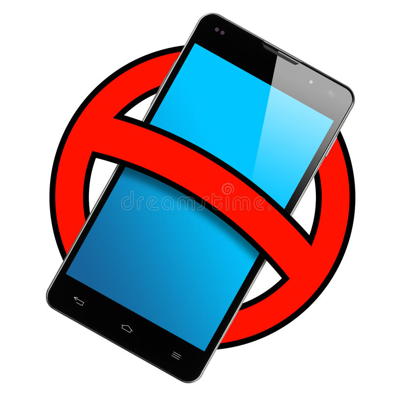 Smartphone Frontal Ban Sign Isolated Stock Illustration