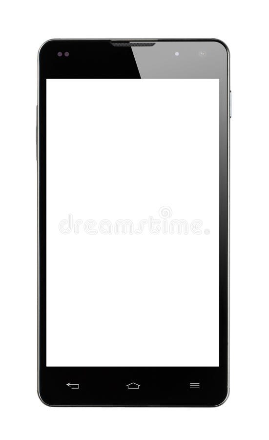 Smartphone Frontal White Screen Isolated stock photo