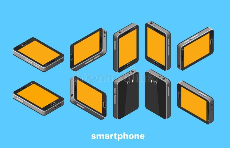 Smartphone frontowy i tylni widok, ikona w isometric stylu royalty ilustracja