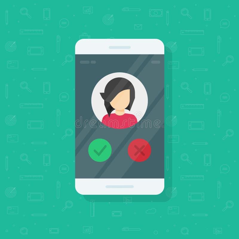 Smartphone głosuje wektorową ilustrację, płaskiego telefon komórkowy z dziewczyny fotografią, avatar lub głosowanie, zapina, pomy royalty ilustracja