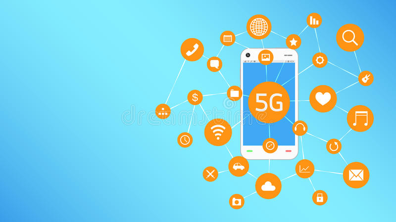 Smartphone and 5G with apps icon floating stock illustration