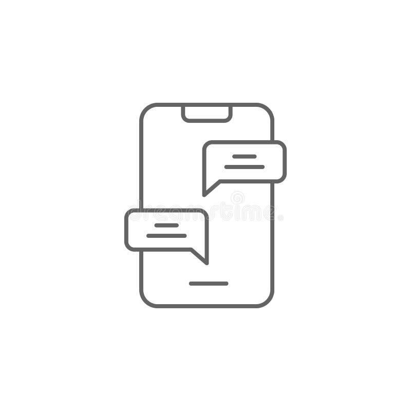 smartphone gadki przyjaźni konturu ikona Elementy przyjaźni linii ikona Znaki, symbole i wektory, mogą używać dla sieci, logo, ilustracja wektor