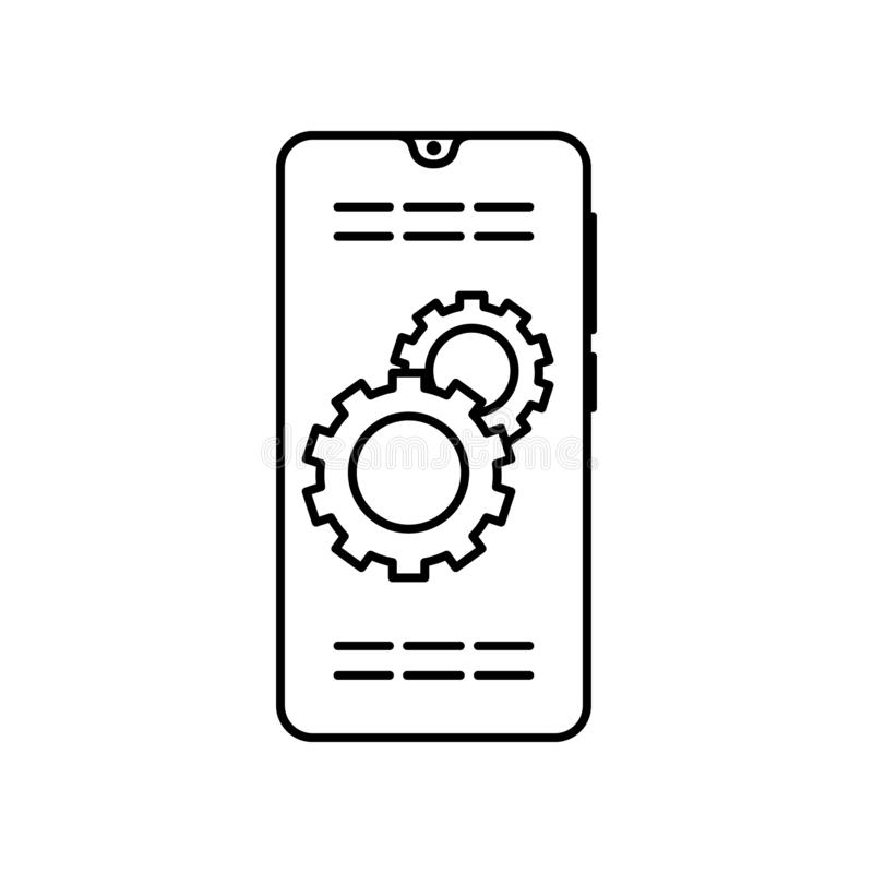 Smartphone gear setting icon. Element of smartphone icon royalty free illustration