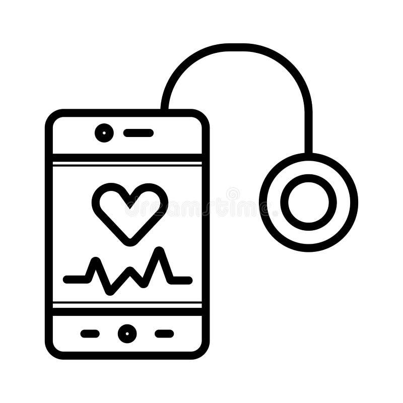 Smartphone genom att använda stetoskopet vektor illustrationer