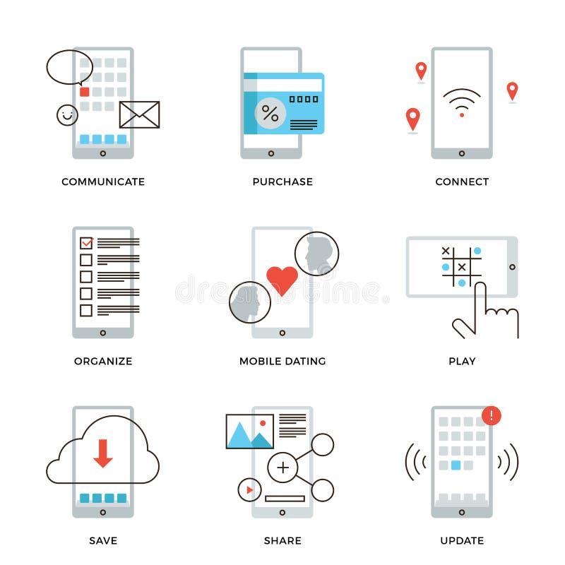 Smartphone-geplaatste de pictogrammen van de eigenschappenlijn stock illustratie