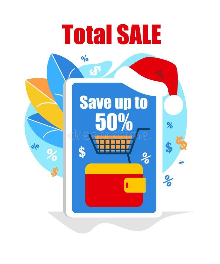 Smartphone gigante com Santa Hat na venda superior, total ilustração royalty free