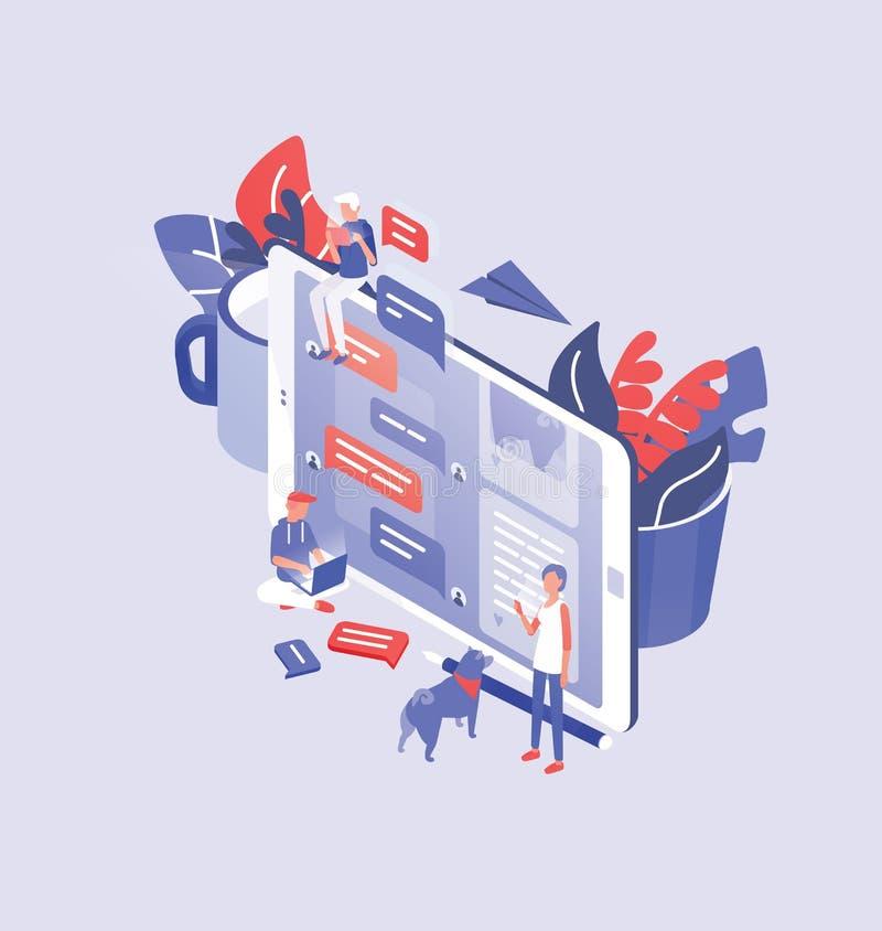 Smartphone gigante, hombres y mujeres minúsculas alrededor de él y lugar para el texto Comunicación de Internet, mensajería inmed ilustración del vector