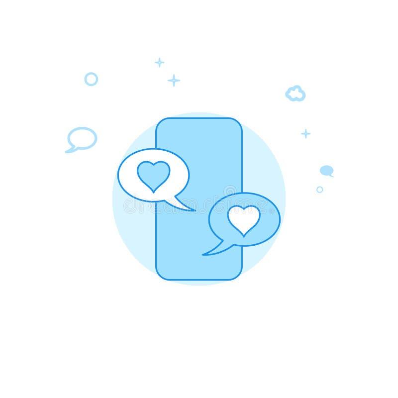 Smartphone gillar den plana vektorillustrationen för meddelanden, symbol Ljust - bl? monokrom design Redigerbar slagl?ngd stock illustrationer