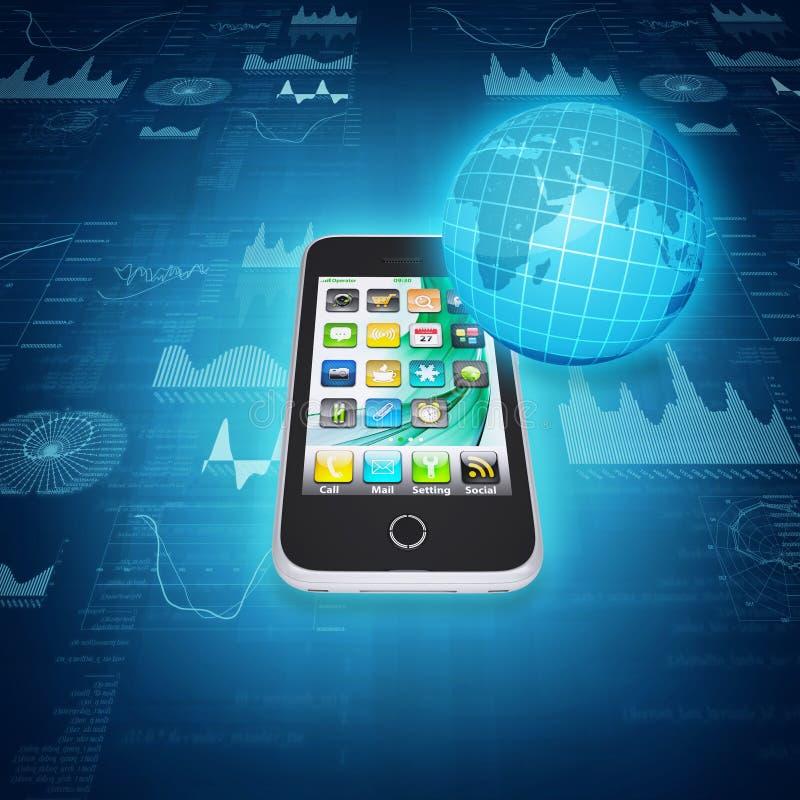 Smartphone, globo y gráficos ilustración del vector