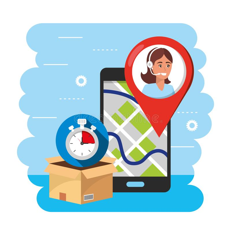 Smartphone gps map and call center agent to service. Vector illustration stock illustration