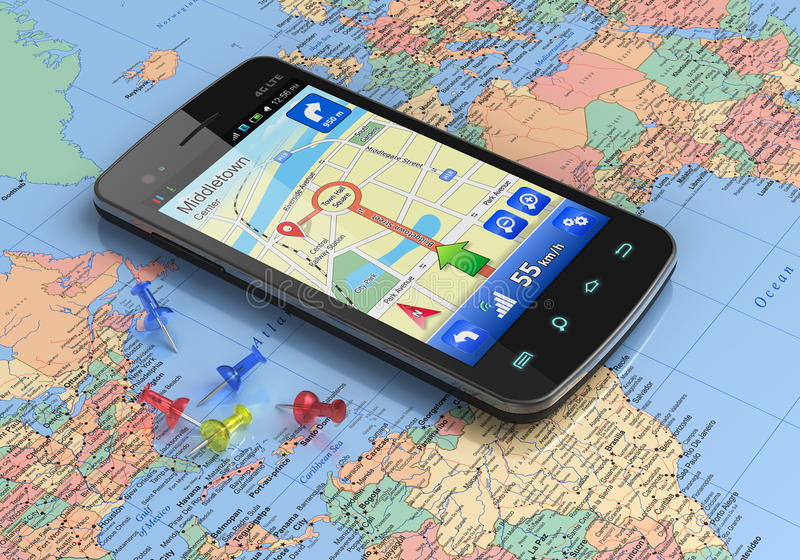 Smartphone with GPS navigation on world map. Touchscreen smartphone with GPS navigation on world map stock illustration