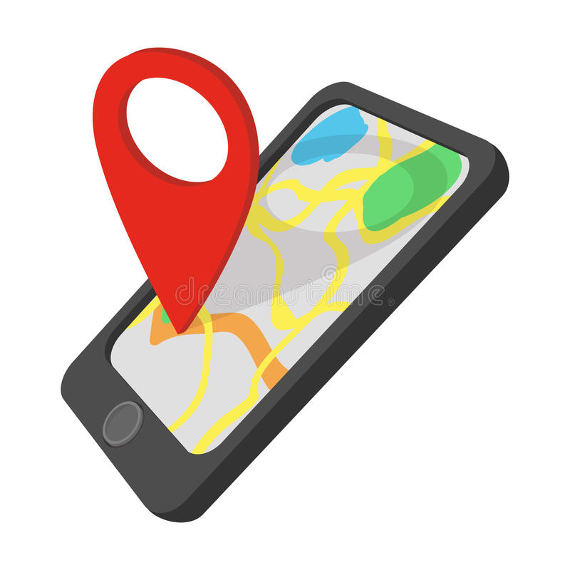 smartphone with gps navigator cartoon icon stock vector