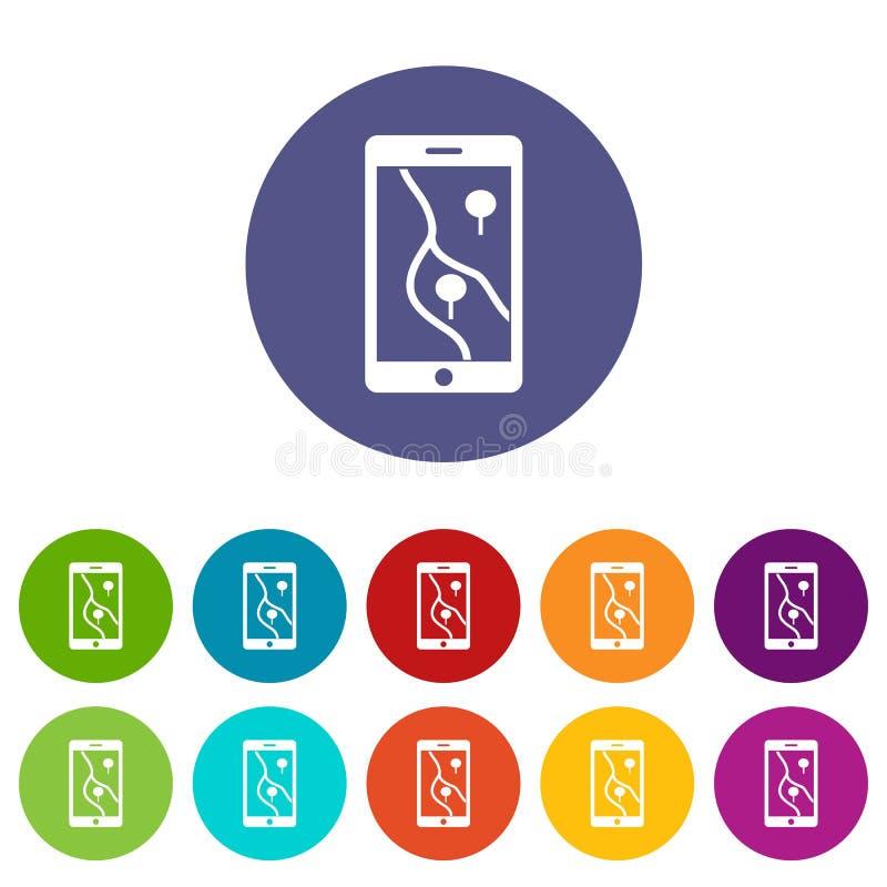 Smartphone with GPS navigator set icons royalty free illustration