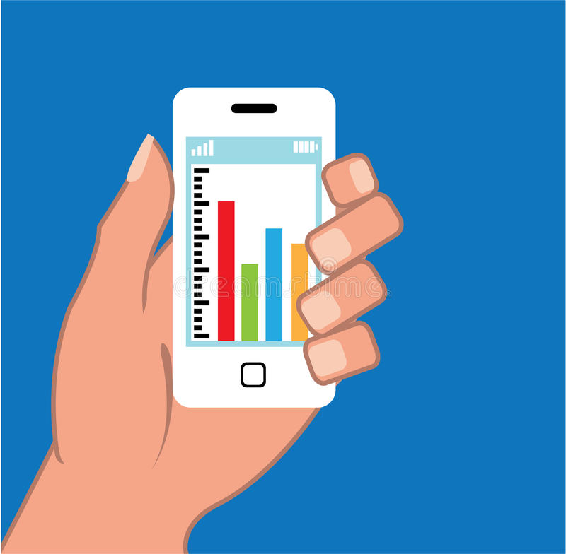 Smartphone with a graph Vector royalty free illustration