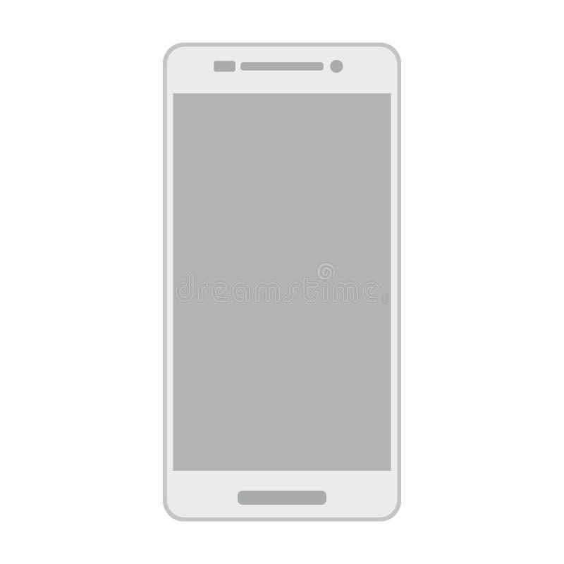 Smartphone gris con la cámara, el botón del menú y la pantalla vacía Vista delantera del smartphone gris con el vector blanco eps ilustración del vector