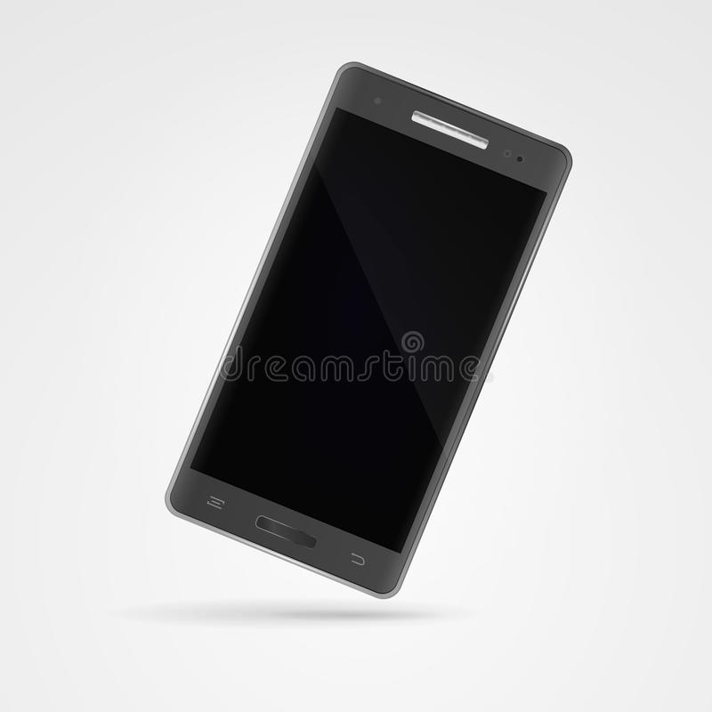 Smartphone gris oscuro moderno con la pantalla táctil en el backgroun blanco libre illustration