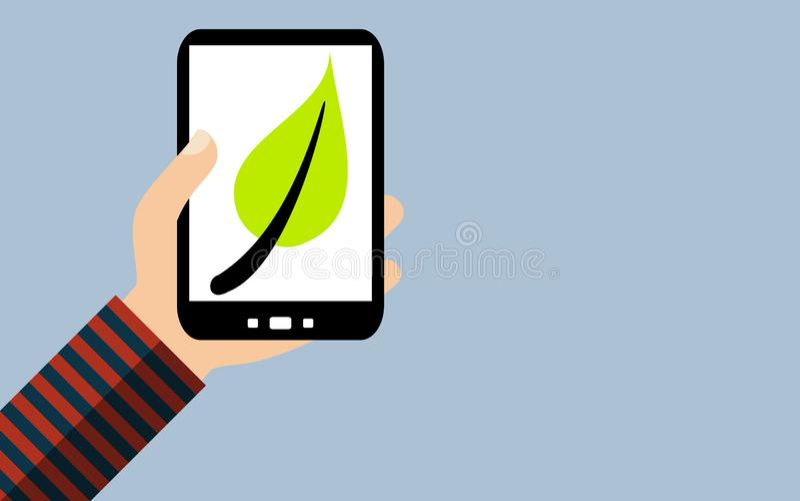 Smartphone: Groen bladsymbool voor Duurzaamheid - Vlak Ontwerp royalty-vrije illustratie