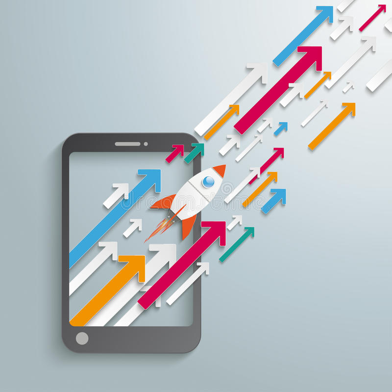Smartphone Growth Arrows Rocket royalty free illustration