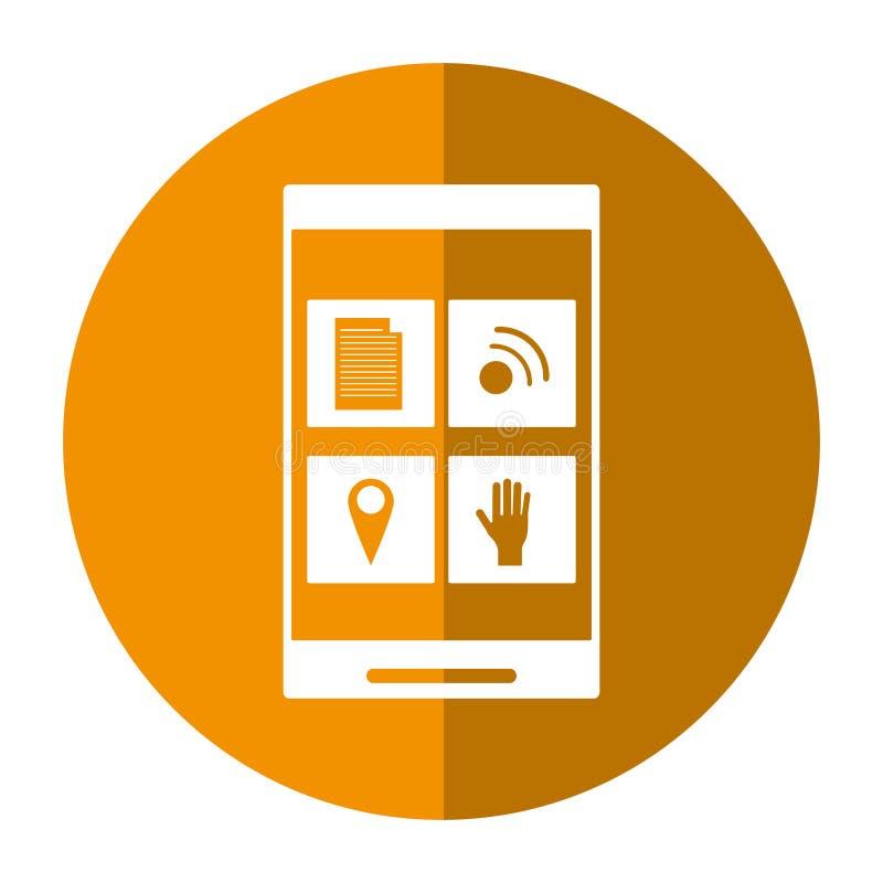 Smartphone guzika ogólnospołeczny medialny podłączeniowy cień royalty ilustracja