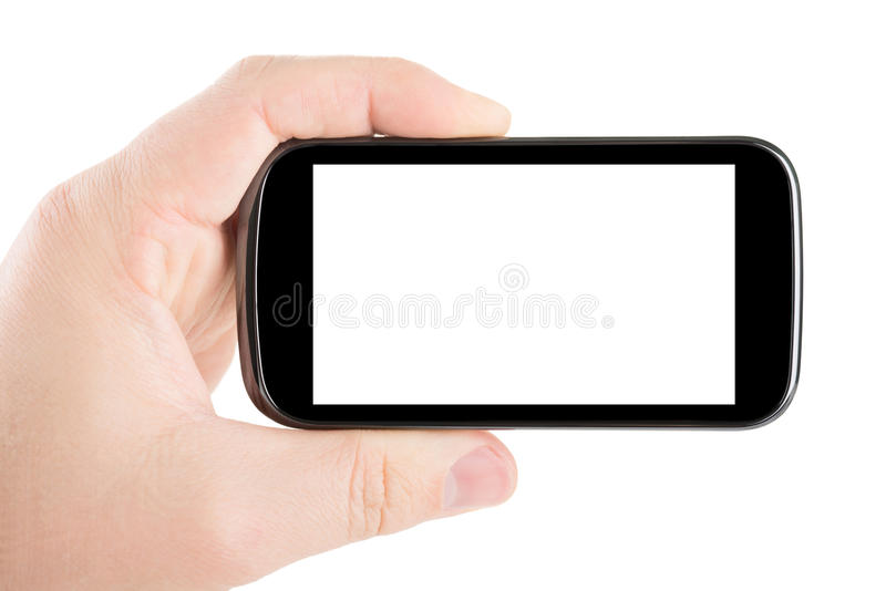Smartphone in hand royalty free stock photos