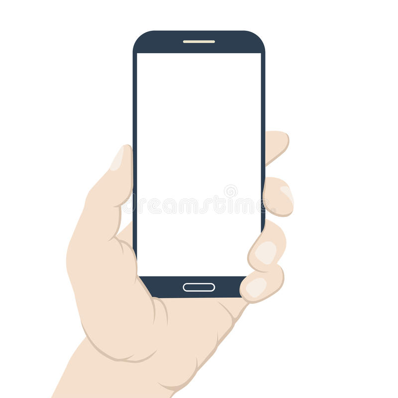 Smartphone in hand. Blank screen. Flat design royalty free illustration