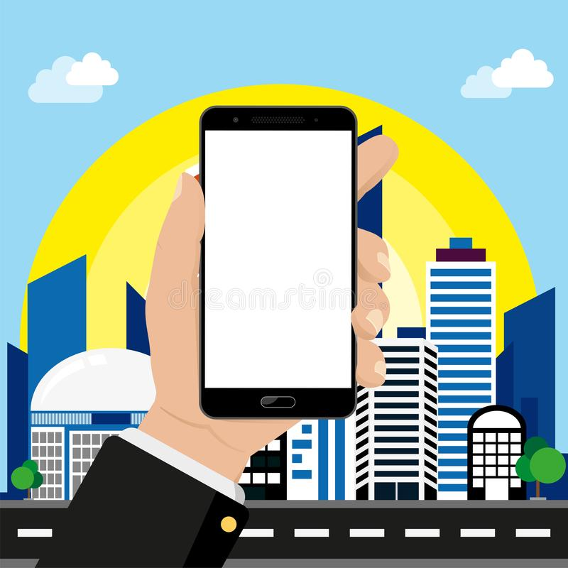 Smartphone in hand on cityscape background. Smart city concept, free space for text, vector illustration vector illustration