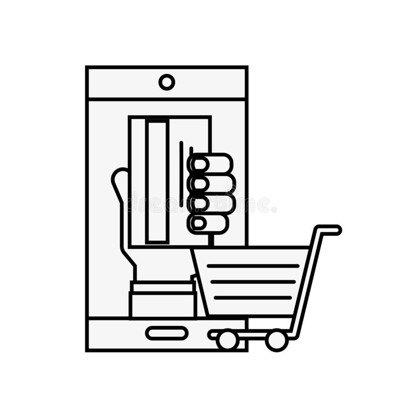 Smartphone hand with credit card cart online shopping. Vector illustration outline stock illustration