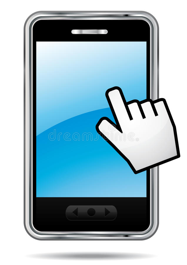 Download Smartphone With Hand Cursor. Stock Photo - Image: 23056920