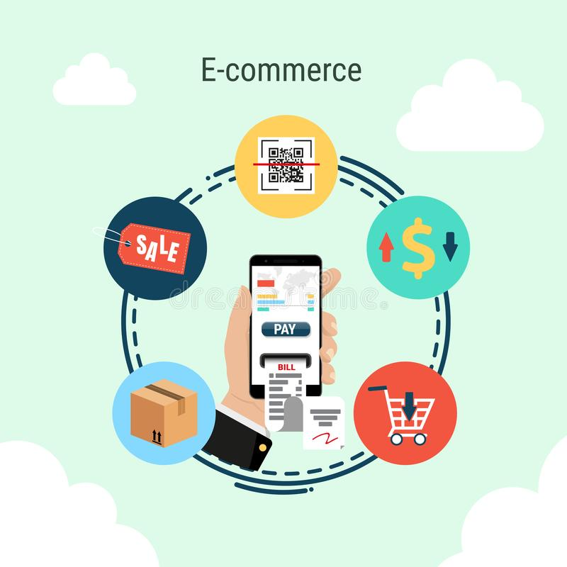 Smartphone in hand, e-commerce infographic concept vector illustration