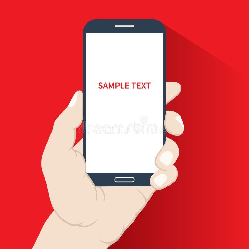 Smartphone in hand. Flat design stock illustration