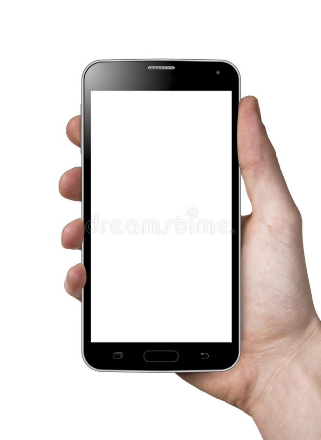 Smartphone in hand. Holding a Smartphone isolated on white background
