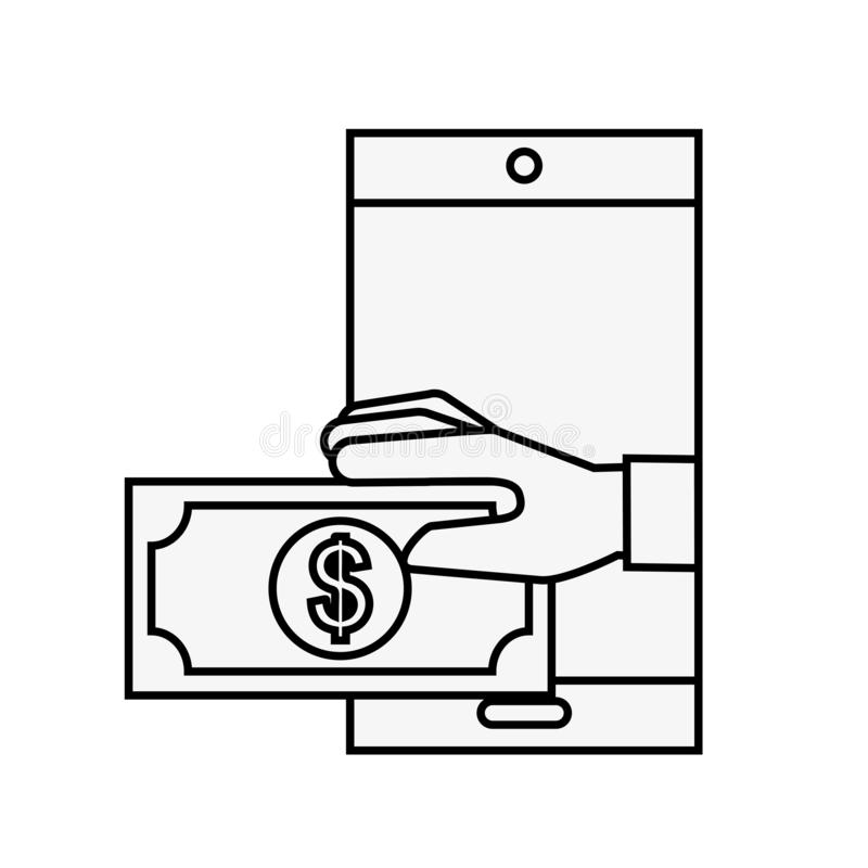 Smartphone-Hand mit dem Banknotenon-line-Einkaufen lizenzfreie abbildung