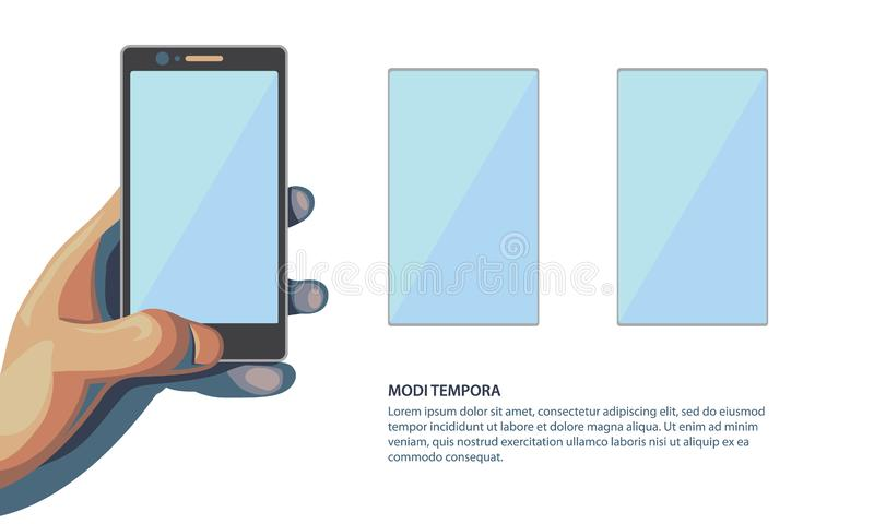 Smartphone in hand. Template for presentation your phone with additional screens. vector illustration