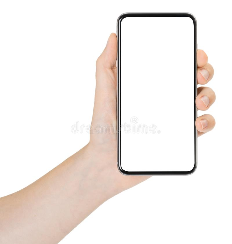 Smartphone in hand on white background stock photo