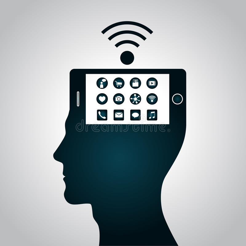 The smartphone has become a part of a human head has replaced consciousness stock illustration