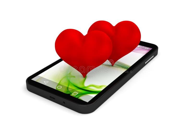 Smartphone heart dating site application business. 3D vector illustration