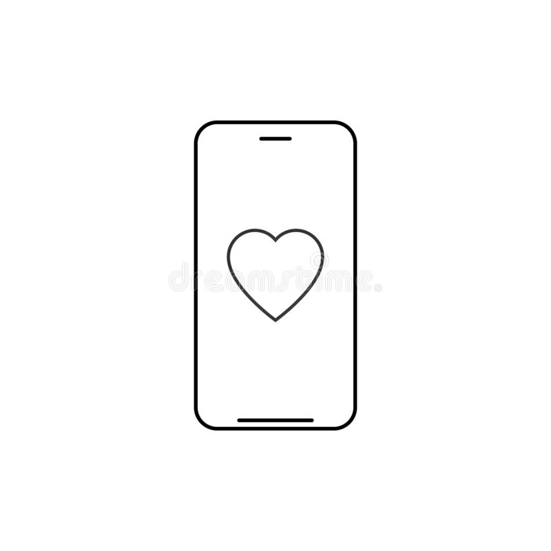 Smartphone with heart outline icon. linear style sign for mobile concept and web design. Charity heart phone line vector icon. vector illustration