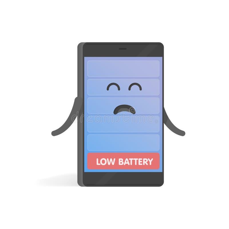 Smartphone-het concept verstoorde lage batterijlast De leuke telefoon van het Beeldverhaalkarakter met handen, ogen en glimlach vector illustratie