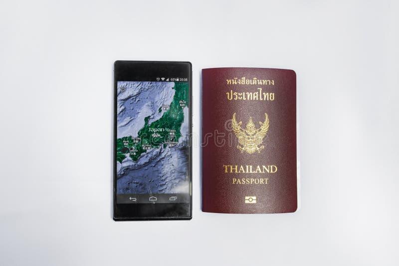 Smartphone & het Paspoortreis van Thailand naar Japan royalty-vrije stock foto's