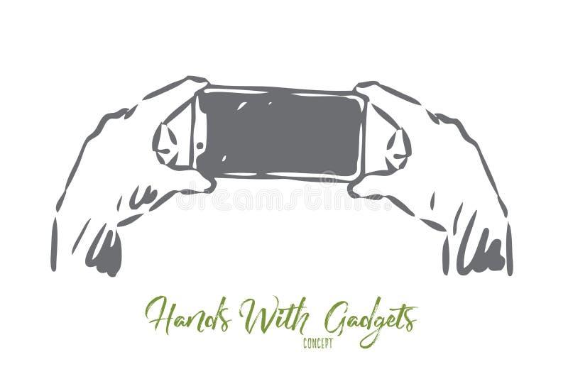 Smartphone, het scherm, handen, foto, technologieconcept Hand getrokken ge?soleerde vector royalty-vrije illustratie