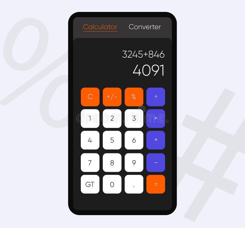 Smartphone-het scherm met Calculator App, Vector realistische moderne illustratie Materiële stijl Vlakke stijltoepassing stock illustratie