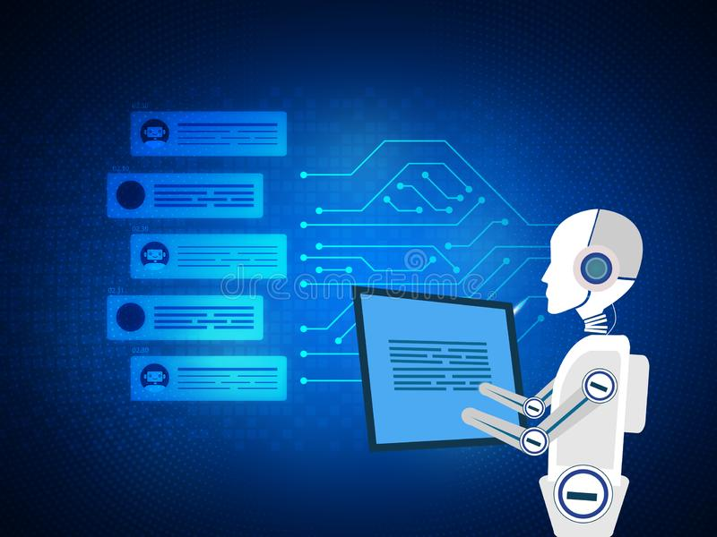 Chating and messaging concept. Chatbot and future marketing analytics. artificial intelligence.blue background royalty free illustration