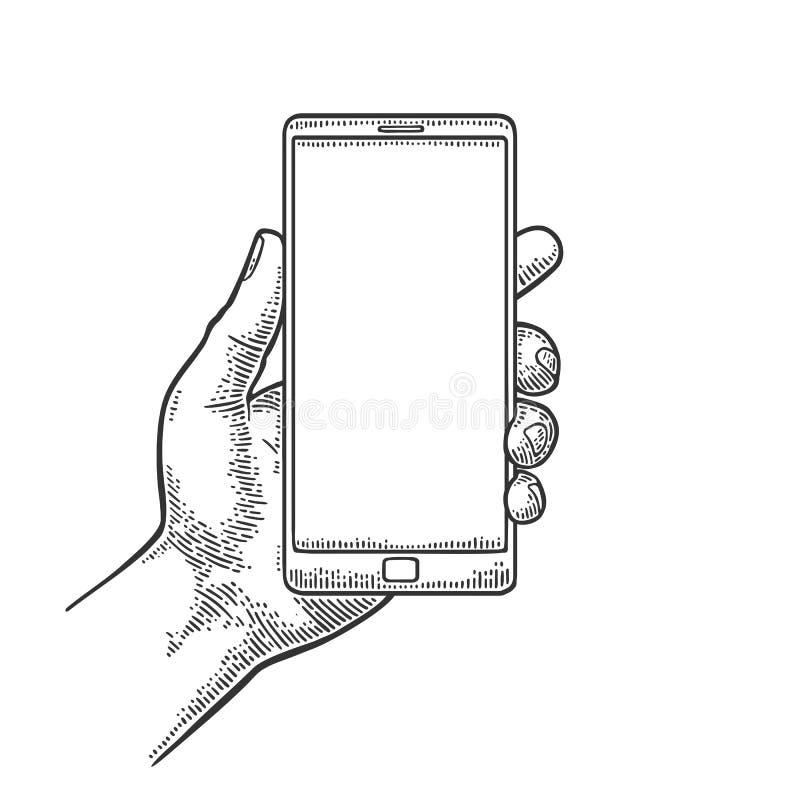 Smartphone hold male hand. Vintage drawn engraving vector illustration